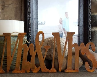Mr & Mrs Sign, Bride Sign, Wedding Decor, Metal sign, Rustic Engagement signs, Anniversary Sign, Wedding Signs, Bridal Shower Decor, Gift