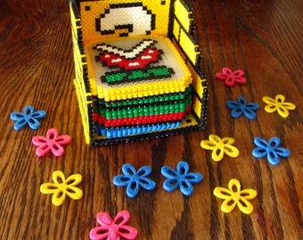 Super Mario coaster set with stand made by hama beads
