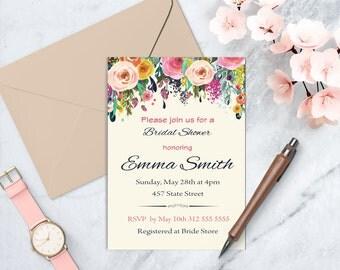 Bridal Shower Invitation, Bridal Shower Floral Invitation, Spring/Summer Bridal Shower Invitation, Birthday Invitation, DIGITAL FILE