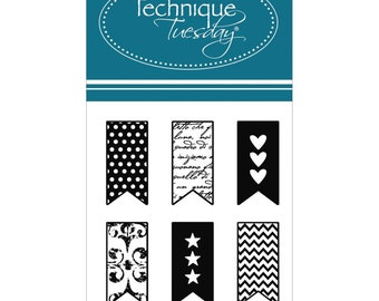 Little Banners Clear Stamps Technique Tuesday Planner Stamps Heart Banner Star Banner Chevron Banner Zigzag Banner Polka Dot Banner Damask