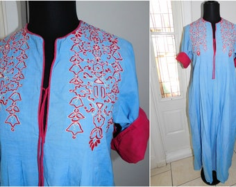 70's Treacy Lowe Embroidered Long Maxi Caftan Lounging Dress Ethnic India Cotton Dress Hippie Bohemian