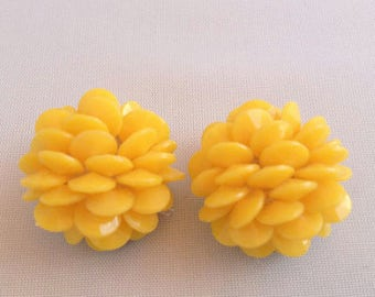 Yellow Chrysanthemum Clip Earrings