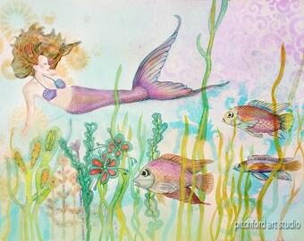 Mermaid, Mermaid Wall Art, Mermaid Decor, Ocean Art, Sea Nymph, Coastal Beach Home Decor