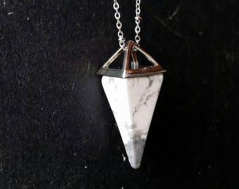 Howlite & Lava Diffuser Necklace Silver--- Lava Rock Aromatherapy Jewelry pendulum pendant