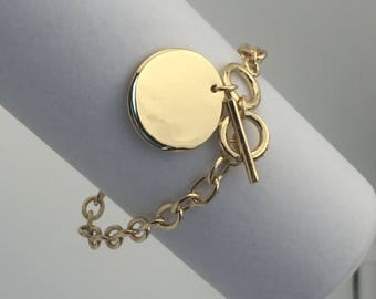 """Gold toggle Bracelet with 1"""" Charm Blanks"""