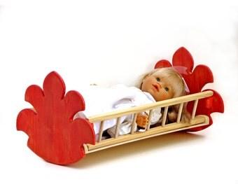 coloured wooden doll cradle - χρωματισμένη ξύλινη κούνια κούκλας