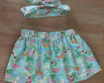 Girls cotton summer skirt with matching head wrap age 1-4 years