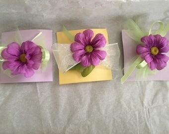Purple Flower Hair Clips