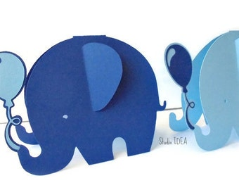 Set of  Mixed Blue Extra Large Standing Elephant with Balloon Centerpieces