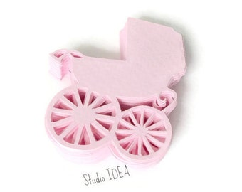 Pink  baby Trolley Cut outs, 2in, 3in, 4in Confetti, Embellishments - or Choose Your Colors