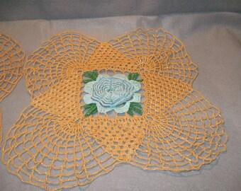 Vintage Handmade Doilies, Large Flower Doilies, Table Decor, Vintage Linens, Home Decor, Handmade Vintage, Table Doilies, Colorful Doilies