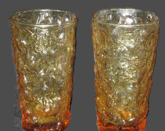 Vintage Yellow Amber Anchor Hocking Tumblers, Drinking Glasses, Home Decor, Collectible Glasses, Vintage Glassware, Water Glasses