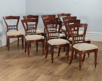 Antique Victorian Set of 10 Mahogany Upholstered Dining Chairs by J.B.C.W. (Circa 1890)
