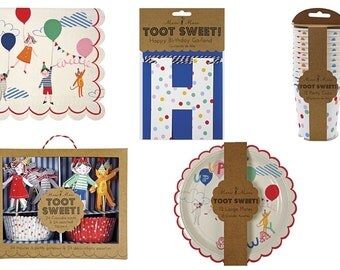 Meri Meri Toot Sweet Party Ware. Plates, Cups, Napkins, Cupcake Kit, Garland & Party Pack