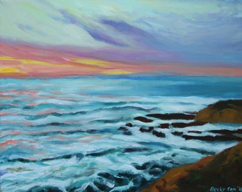 Sea Waves Sky Painting- seascape-Wall Decor- Morning Beach Seaside-Modern Art- Painting on Canvas- Art by Becky Cao