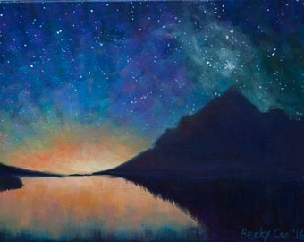 Starry Night Sky Mountain Water Dream Artwork- Acrylic Painting- Nature- Stars- Galaxy- Hand Painted Art- Wall Hanging