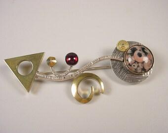 "Arrow Pin in Sterling Silver, Brass, Garnet and Jasper ""Point the Way"""
