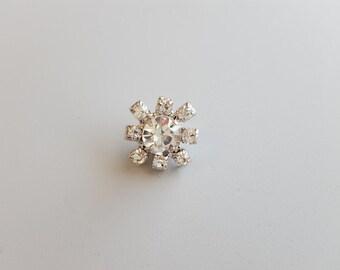 "Rhinestone Snowflake Embellishment .5""X.5"" Snowflake Pendant Hoop Back Buttons SET of (2)"