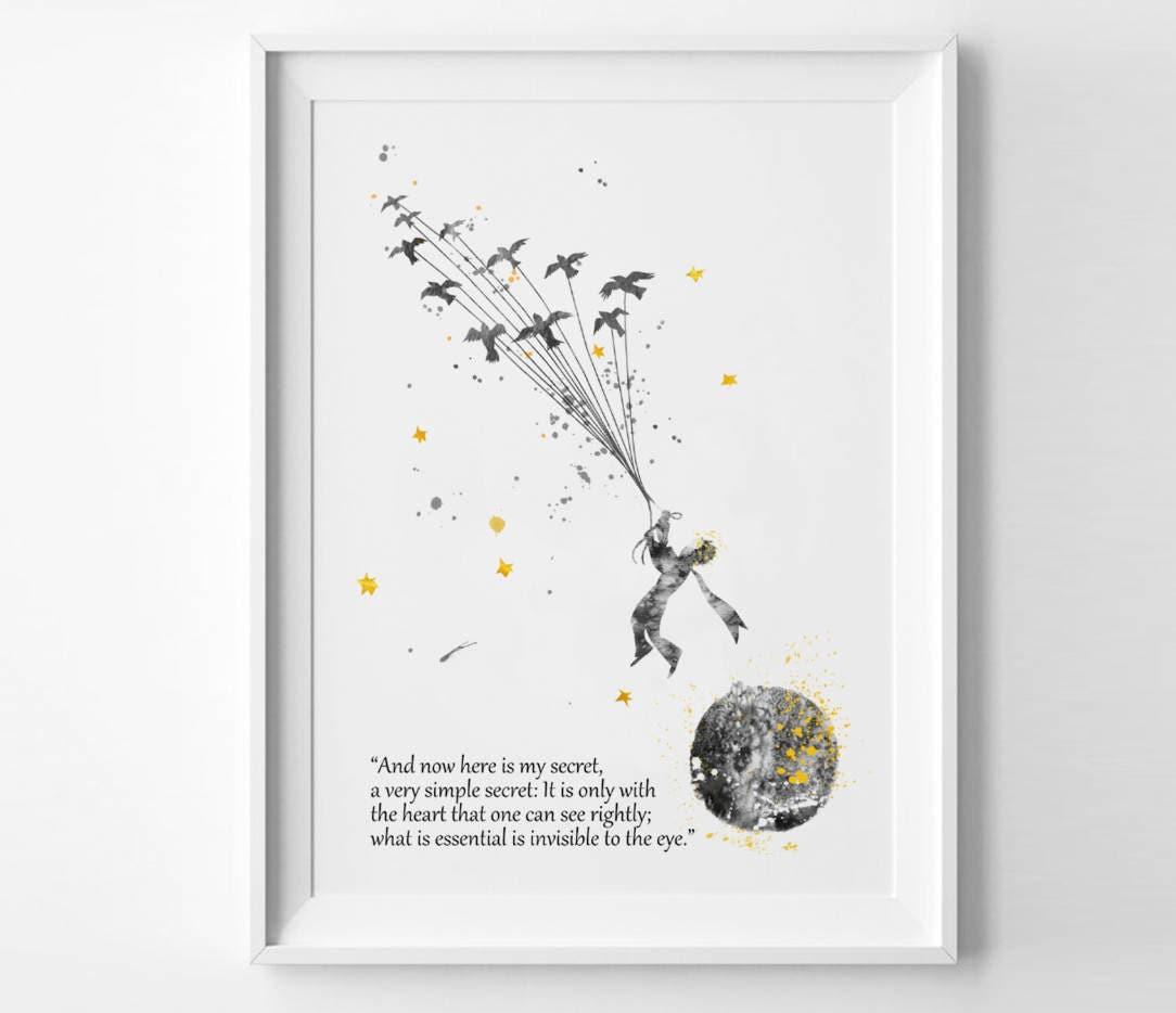 Citaten Uit Le Petit Prince : Le petit prince aquarelle imprimé affiche