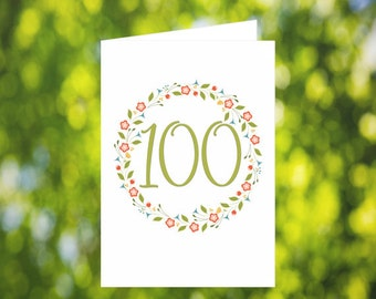 100th Birthday Card Download: Flower Wreath Birthday Card - Olive Green - Digital Download - Downloadable Card - Birthday Card for Her