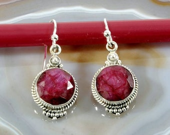Ruby  and Silver Earrings  -- 3091