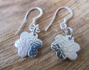 Flower shaped fine silver earrings.  Rustic.  Artisan. OOAK, jewellery by Silver Wren & Oak