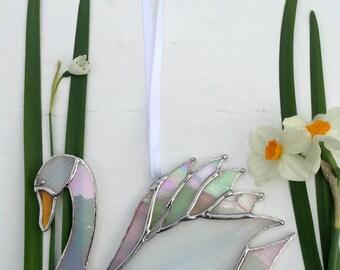 Stained Glass Sun Catcher 'Swan' Mixed White Glass, Suncatcher, Home Decor,Bird, Birthday Gift, OOAK,Wildlife, Water Bird