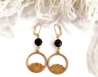 Black Lotus Earrings Brass Lotus Earrings  Lotus Flower Dangles Yoga Inspired Gift for Her