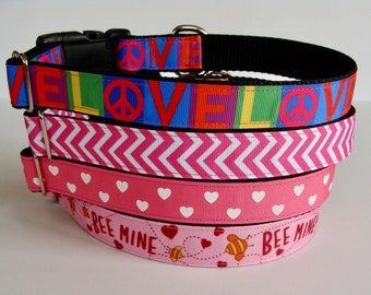 Valentine's Day Dog Collars Love, Pink Chevron, Hearts, Bee Mine - READY TO SHIP!