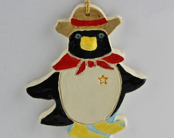Penguin Southwest Sheriff Clay Christmas Ornament Handmade by Arizona Artist, Karlene Voepel