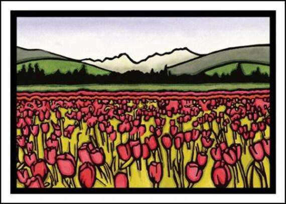 Field of Tulips - Single Blank Sarah Angst Greeting Card - Field of Flowers