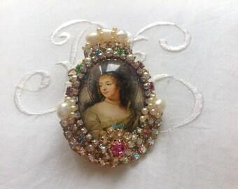 "Huge baroque Sparkling ring,"" Ninon de Lenclos"", cabochon  under glass , Haskell elements,baroque pearls"