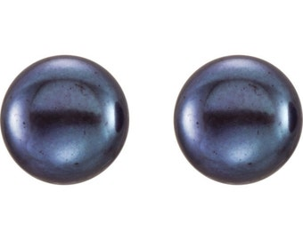 Sterling Silver 8-9mm Black Freshwater Cultured Button Pearl Stud Earrings
