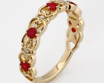 14K Yellow White or Rose Gold Genuine Ruby & .025 CTW Diamond Vintage-Inspired Scroll Design Ring, Wedding Band