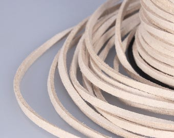Grey Suede Cord, 3x1mm; Soft Micro Fiber Faux Leather Velvet Suede Flat Lace, Cord, Thread, String, Rope; 100 Yard; Jewelry Making