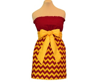 Deep Red + Golden Yellow Chevron Game Day Dress