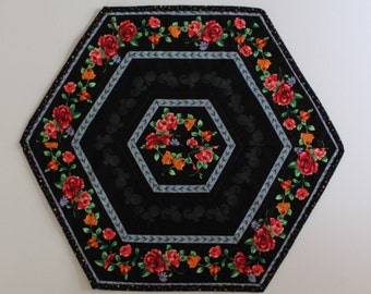 111 Floral on Black Table Topper