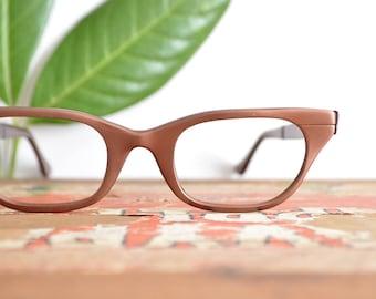 Cateye Glasses, Vintage Glasses Frames, Tura Brown Aluminum Cat Eye Glasses, Womens Prescription Eyeglasses // 50s 60s Retro Rockabilly MCM