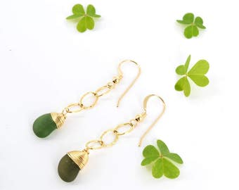 Light and Dainty Seaglass Drops/ 14k Gold Filled/ Genuine Olive Green Seaglass