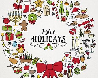 Holiday & Christmas Clipart Illustration Pack - wreath art, holiday clip art, hand drawn clipart and patterns, hanukkah diwali kwanzaa xmas