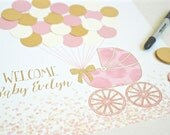 Pink and Gold Baby Shower Decor Pink and Gold Shower Decorations Pink and Gold Baby Shower Guestbook Alternative Baby Shower Guest Sign In
