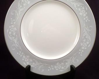 Royal Doulton Valleyfield Bone China Dinner Plate, H4911, Platinum Rim, Gray Floral