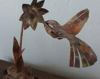 Copper Hummingbird Sculpture