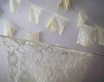 Ivory Lace Pennant Bunting Rectangle Boho Wedding