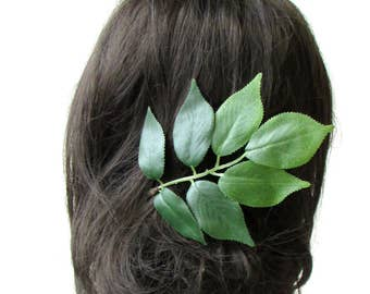 Green Ash Leaf Hair Pin Bronze Bridal Bridesmaid Artificial Rustic Wedding 2154