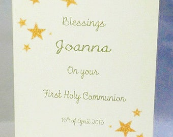Personalised FIRST COMMUNION / CONFIRMATION Day Card - any name date - stars