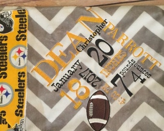 Baby Blanket Football Sport Blanket Company Not Affiliated with NFL Steelers Birth Information