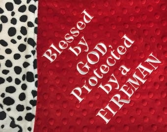 Firefighter Blanket Fireman Nursery Fireman Baby Things Fireman Blanket Fireman Baby Shower Adult Minky Blanket Dalmatian Blanket Dalmation