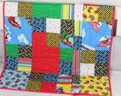 """Baby Quilt, Handmade Baby Quilt, """"Thomas The Train"""" Quilt, Modern Baby Quilt, Baby Gift, Newborn Gift, Toddler Gift, Holiday Baby Gift,"""