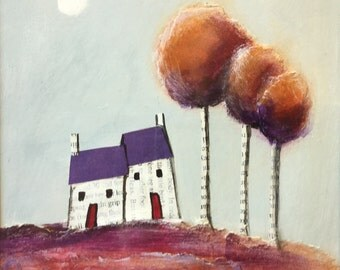Paper houses #6 mounted mixed media acrylic collage painting by Jane Palmer folk art